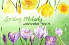 Spring Melody Watercolor Clipart Set by Tati Bordiu on @creativemarket