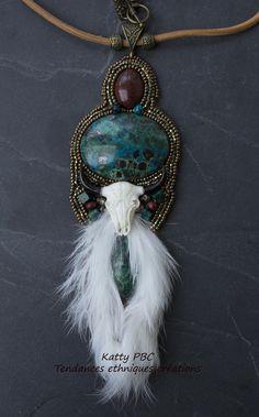"""Collier inspiration amérindienne """" Taima""""- Pièce unique : Collier par tendances-ethniques-creations"""