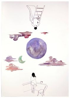 Under the same two moons - Haruki Murakami, 1Q84  http://www.haruki-murakami.com/post/93295229145/under-the-same-two-moons-haruki-murakami-1q84