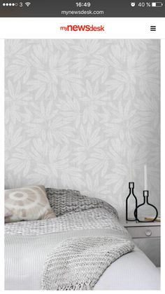 Midbec - inspiration 17562 Salon Wallpaper, Home Wallpaper, Fabric Wallpaper, Pattern Wallpaper, Antique Beds, William Morris, Stencil, Bed Pillows, Interior Design