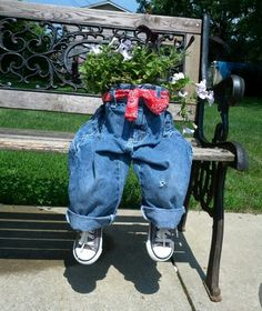 What do you get for the friend who has everything?  Recycled kid jeans planter garage sale find clothing and shoes add plant wha la