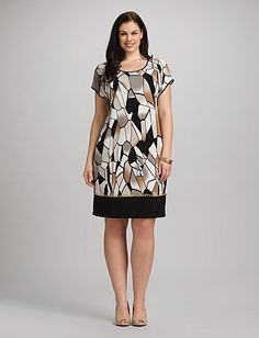 Plus Size Abstract Neutral Shift Dress