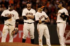 The Giants infield, l-r, Pablo Sandoval, Brandon Belt Marco Scutaro and Brandon Crawford waited for a pitching change in the 8th inning. The San Francisco Giants defeated the St. Louis Cardinals 6-1 to tie up the NLCS series at AT park in San Francisco, Calif. Sunday October 21, 2012. Photo: Brant Ward, The Chronicle / SF