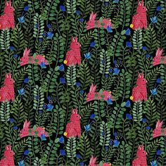 Floral and rabbit pattern with a dark ground by Eva Lechner #print #design