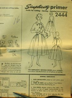Simplicity 2444 1950s 50s Full Skirt Dress by EleanorMeriwether, $5.00