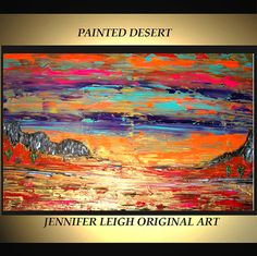Original Large Abstract Painting Modern Contemporary Canvas Art Orange Gold Turquoise PAINTED DESERT 36x24 Palette Knife Texture Oil J.LEIGH via Etsy