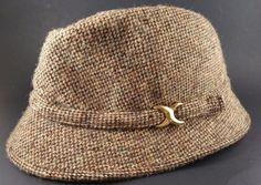 Vintage Brown Wool Tweed Fedora Bucket Biltmore Hat Harris Tweed, 7 1/8 EUC