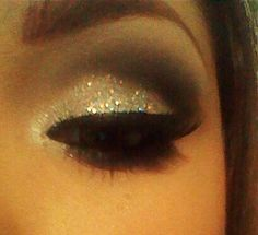 glittery/smokey eye