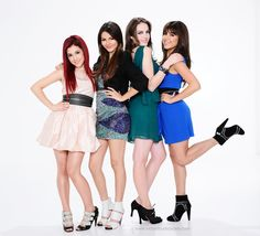 Ariana Grande,Victoria Justice,Liz Gillies and Daniella Monet as Cat Valentine, Tori Vega, Jade West and Trina Vega in Victorious Season 1 Promoshoot.