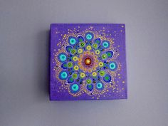 Artwork Created by Sofia Zises - Small Mandala Painting - Boxed Canvas  Sofia created the original drawing using acrylic paints on canvas (the color and clarity may differ on your computer screen, and it looks better in person).  • Dimensions - 6 x 6 • This is made on a boxed canvas so it is easy to hang  This is perfect for an office, bedroom, or desk~ Thank you for visiting my shop. Please contact me with any questions or comments you may have.   - Sofia Zises