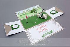Explosionsbox mit Motiv Golf (Golftasche, Golfplatz). Hergestellt von Brigitte Baier-Moser mit Stampin'Up. Die Golfschläger wurden mit Silhouette Cameo entworfen und ausgeschnitten