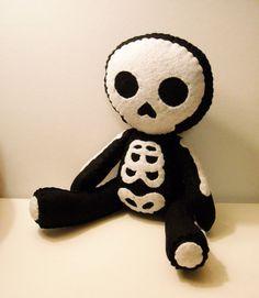 Felt skeleton Halloween inspired custom plush by SouthernGothica, $45.00