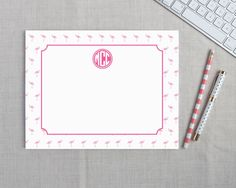 Mini Flamingo Personalized Desk Pad | Flamingos for a Cure | Meredith Collie Paper  20% of each sale is donated to breast cancer awareness.