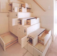 Stunning interior design ideas that will take your house to another level: Space-Saving Stairs Staircase Storage, Stair Storage, Hidden Storage, Stair Shelves, Stair Drawers, Extra Storage, Staircase Ideas, Stair Idea, Secret Storage