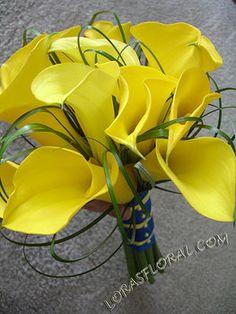 Wedding, Flowers, Bouquet, Yellow, Calla lilies