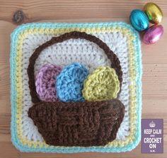 Easter egg/flower basket square (pattern) by Heather C Gibbs