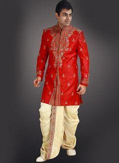 Traditional Indian Wedding Sherwani With Designer Dhoti