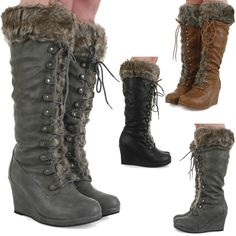 Ladies casual knee high zip up faux fur trim wedge womens winter boots size  3-8