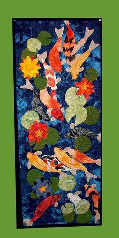 pond and koi quilt hanging Koi Art, Fish Art, Small Quilts, Mini Quilts, Quilting Projects, Quilting Designs, Quilting Ideas, Fish Quilt, Japanese Quilts
