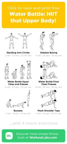 Free workout: Water Bottle: HIIT that Upper Body! – 38-min abs, arms, chest, legs exercise routine. Try it now or download as a printable PDF! Browse more training plans and create your own exercise programs with #WorkoutLabsFit · #AbsWorkout #ArmsWorkout #ChestWorkout #LegsWorkout Don't need to go to the gym, just use your bodyweight and take a few minutes a day, 30 Day Weight Loss Challenge will greatly help to get a perfect bikini body! Ab Day Workout, Leg Day Workouts, Free Workout, Ab Workout At Home, At Home Workouts, Workout Ideas, Perfect Bikini Body, Biceps And Triceps, Training Plan