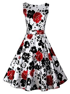 BeautyCreator Women's 1950s Hepburn Vintage Wiggle Floral Cocktail Dress (XL, Red Floral) BeautyCreator