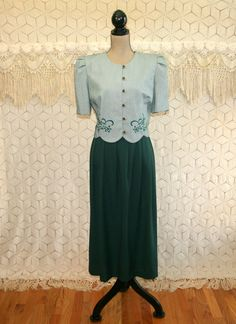 80s 90s Green Dress Large Short Sleeve Spring by MagpieandOtis