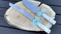 Wedding Cake Cutting, Wedding Cake Server, Aqua Wedding Cakes, Cake Cutters, Cake Knife, Cake Servings, Organza Ribbon, Knife Sets, Chic Wedding