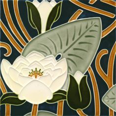 Wall tile Art Nouveau water lily B