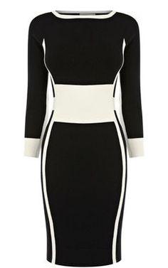 Платье футляр с рукавом, с отделкой, комбинированное, прямого кроя