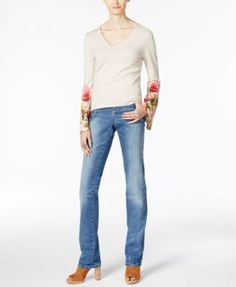 INC International Concepts Floral-Print Top & Boyfriend Jeans, Only at Macy's | macys.com