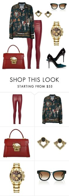 """Menswear for a Woman"" by the-beautiful-baker ❤ liked on Polyvore featuring Helmut Lang, Dolce&Gabbana, House of Harlow 1960, Rolex and Thierry Lasry"
