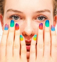 """American Apparel's new """"sheer"""" nail polishes are leading the West Coast trend of gradient manicures. (image courtesy of American Apparel)"""