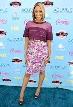Tia Mowry The reality TV star showed off blonder hair with an all-purple ensemble.