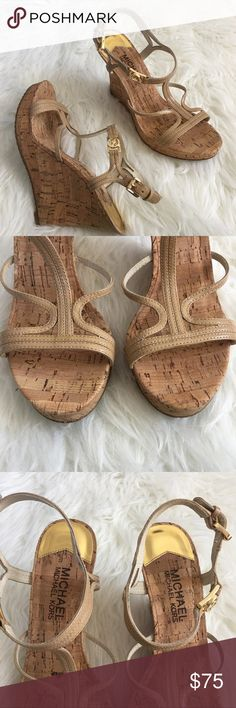 """Michael Kors Nude Strappy Leather Cork Wedges Excellent used condition. Only worn out once. No game as 4"""" wedge and a .75"""" platform. Real leather straps. MICHAEL Michael Kors Shoes Wedges"""