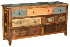 Distressed Reclaimed Wood 7 Drawer Dresser Chest - eclectic - Dressers Chests And Bedroom Armoires - Sierra Living Concepts
