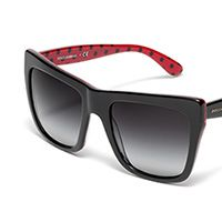 Women's black polka dots acetate glasses with squared frame by Dolce