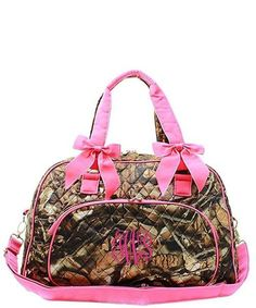 "Personalized Natural Camo Hot Pink 18"" Quilted Duffle Tote Bag - Gifts Happen Here - 1"