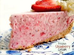 Frozen Strawberry Cream Pie is absolutely delicious and a snap to put together.The pie is creamy and luscious, the perfect dessert for a hot summer day!
