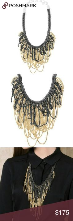 """NWT Kendra Scott 14k Gold Waterfall Necklace Gorgoeus 14k gold and gunmetal pewter draped waterfall necklace from Kendra Scott. Perfect for a holiday party! Heavy and well-made. Feels solid and sturdy.  Size 21"""" chain with 3"""" extender. Feel free to make an offer! Kendra Scott Jewelry Necklaces"""