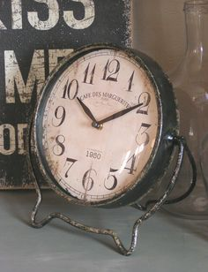 Aged & Worn Old Metal Clock...wooden graphic sign.
