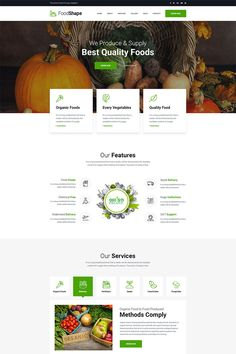 Foodshape is a clean & modern psd template design specially for food delivery company, food farms or any other related services company. Food Web Design, Simple Web Design, Web Design Tips, Web Design Services, Design Strategy, Flat Design, Vegetable Delivery, Travel Website Design, Wordpress Theme Design