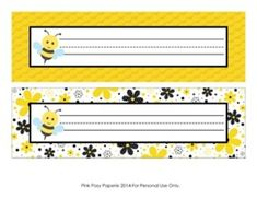 Bee Theme Classroom Decor Desk Name Plates