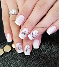 Ideas Gel Pedicure Designs Summer French Manicures For 2019 Pedicure Designs, Nail Manicure, Manicure And Pedicure, Nail Art Designs, Joy Nails, Happy Nails, Beauty Nails, French Acrylic Nails, Fall Acrylic Nails