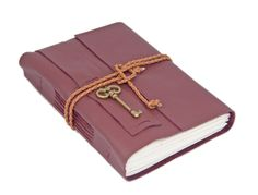 Burgundy Leather Journal with Lined Paper and Key Bookmark