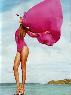 Love the color of this bathing suit...I want to find a cute one piece that actually looks good on me!