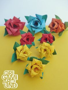 474 origami roses pinterest origami rose plants the process materials regular colored copy paper aquarelle pencils for the leaves paper covered wire and floral tape for the stems mightylinksfo