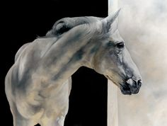 "Monochrome Equine painting by Tony O'Connor ""A Chance to Dream"" 30""x40"" oil on canvas whitetreestudio.ie"