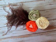 Flower hair clips, Headbands, Pearls, Weddings, Rhinestone, Flower girls hair accessories, Ivory, Orange, Green, Brown,