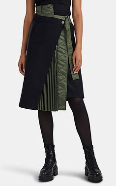We Adore: The Mixed-Media Wrap Skirt from Sacai at Barneys New York Fashion Details, Look Fashion, Skirt Fashion, Womens Fashion, Winter Fashion Outfits, Autumn Winter Fashion, Kleidung Design, Fashion Sewing, Designing Women