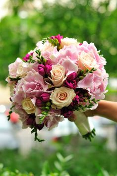 hortensie frezie - Căutare Google Garden Rose Bouquet, Pink Rose Bouquet, Wedding Flowers, Bridal Bouquets, Plants, Wedding Ideas, Sweet, Google, Dresses